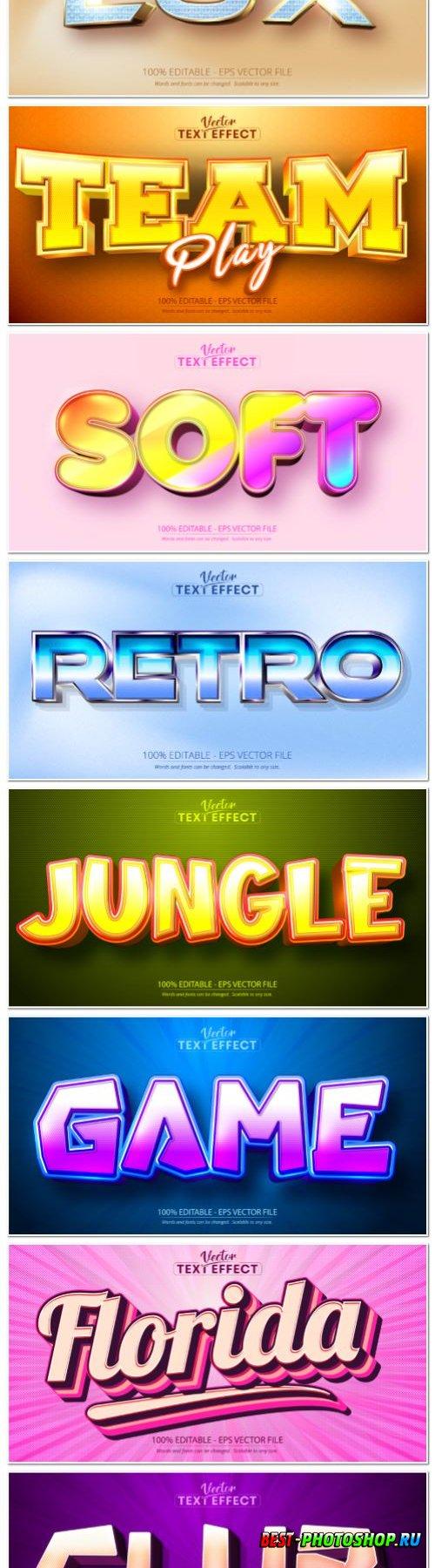 Set 3d editable text style effect vector vol 144