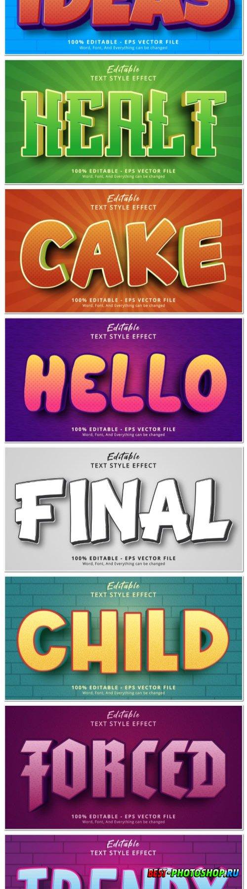 Set 3d editable text style effect vector vol 141