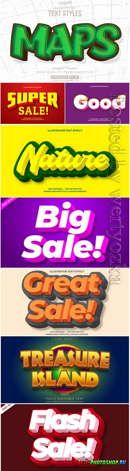 Vector text effect in style 3d