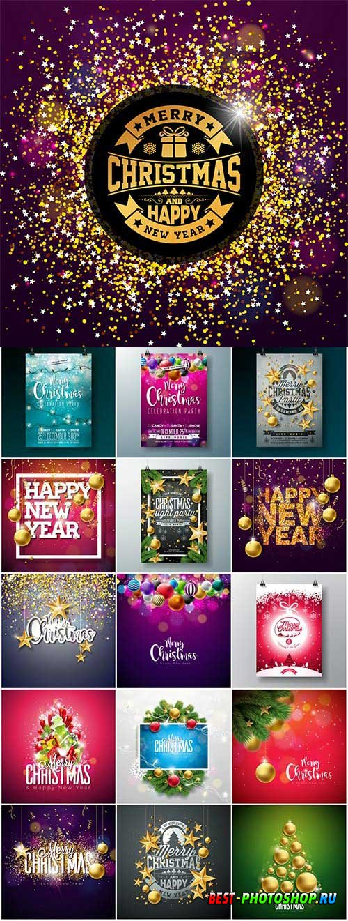 New Year and Christmas vector vol 6